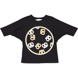 PRETZEL Girl's Web Sleeve Tshirt - Black
