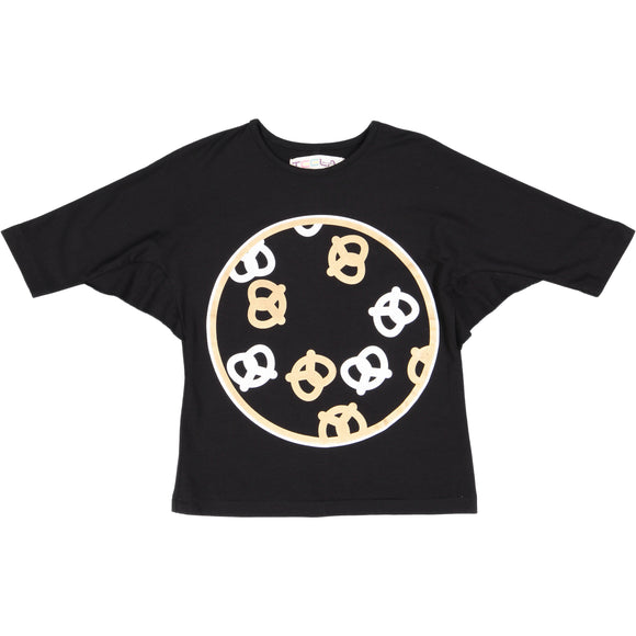 PRETZEL Girl's Web Sleeve Tshirt - Black - FINAL SALE