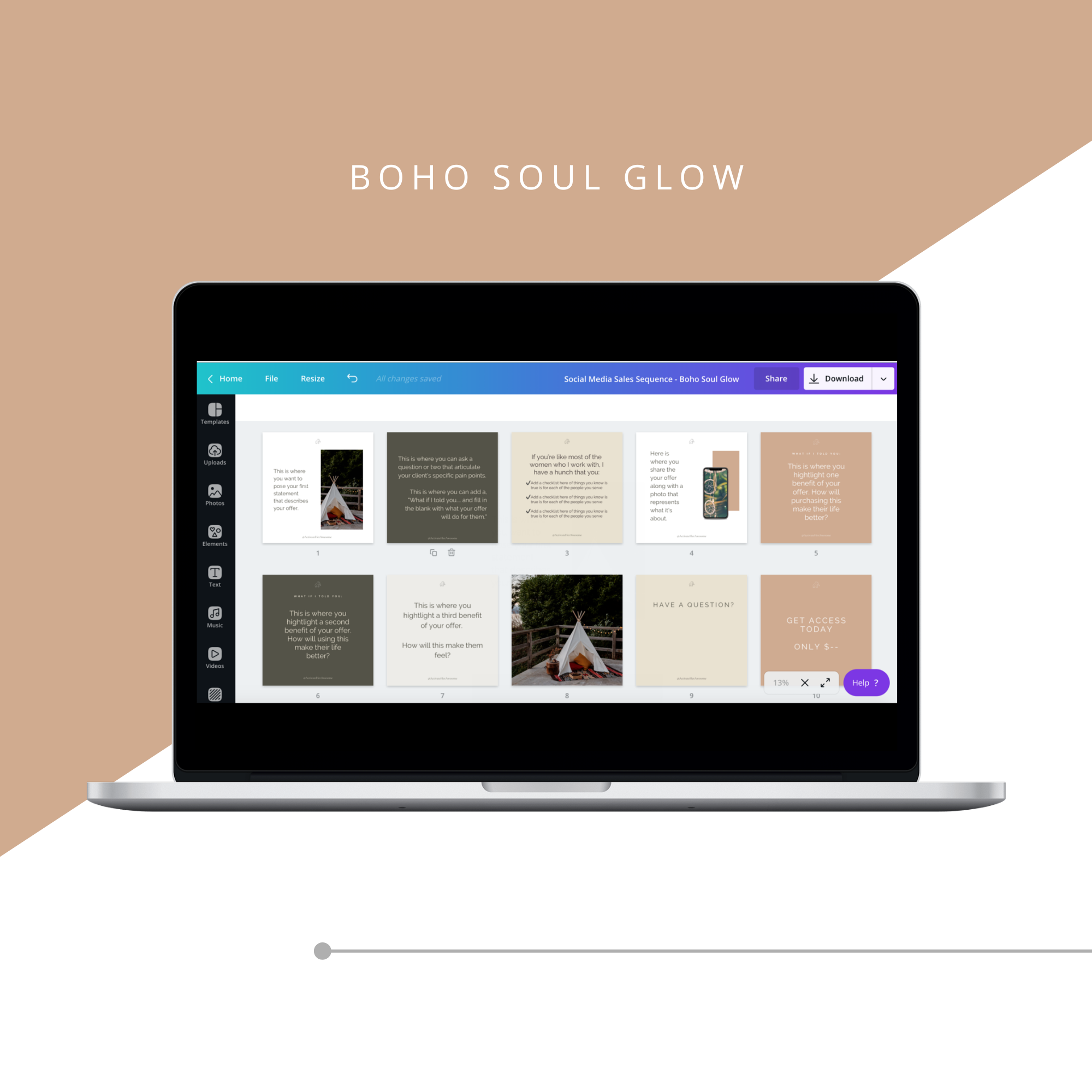 Square Social Media Sales Sequence - Boho Soul Glow