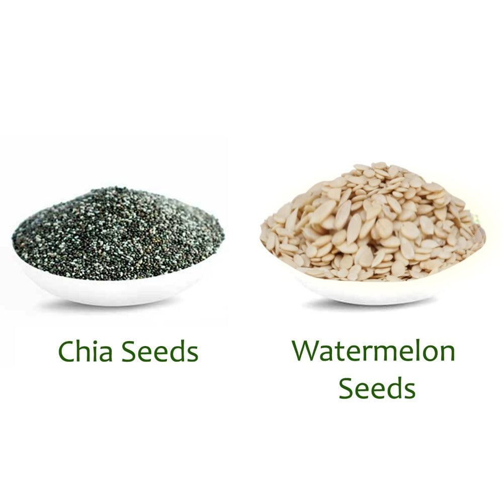 YUVIKA Raw Chia Seeds and Watermelon Seeds 300g Combo Pack (Pack of 2) (150g Each)