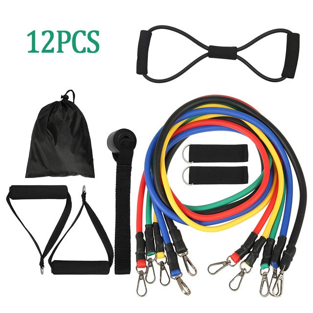 Set of 12 Resistance Pro Bands - Added yoga pull rope