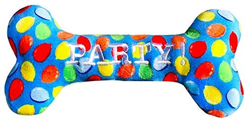 Lulubelle's Power Plush Party Time (Blue) Bone Dog Toy