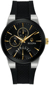Modern Men's Black Bulova Watch with Gold Accents