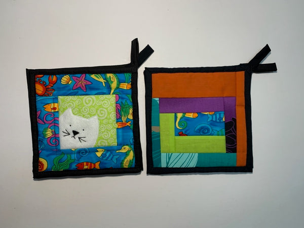 Potholder Patchwork Kitty/Fish Pair