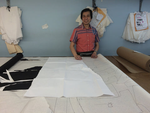 Our pattern maker in our factory in the heart of the garment district in New York City