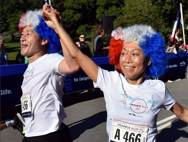 Runners in costume for the France Run in Central Park