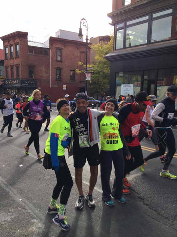 Beth Weinstein at NYC Marathon & Achilles runner