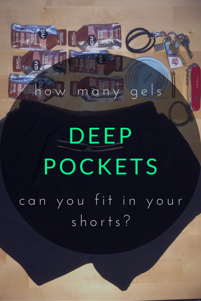 How much can you fit in your pockets? Our running shorts fit 6 gels, 3 hair ties, 2 bobby pins, 3 keys, 1 set extra laces, 1 swiss army knife, 1 USB key and 1 USAT card