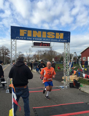 Our featured runner this week in A Runner's Life is Michael McCaffery, here is at the finish line of one of his 50 marathons he's running in 50 states to raise money for cancer research