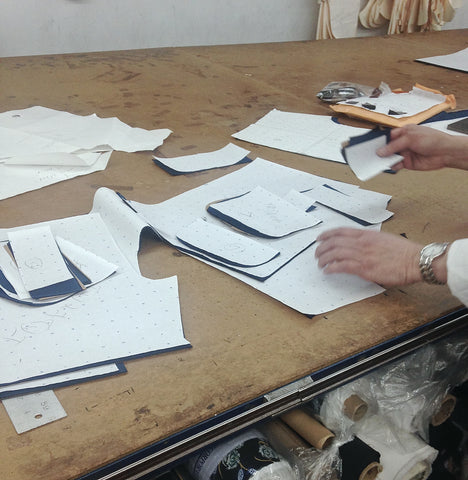 Only Atoms pattern maker working on our Men's Running Short in our NYC factory