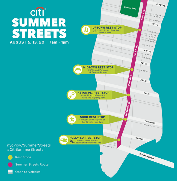 Map of New York's Summer Streets routes and rest stops