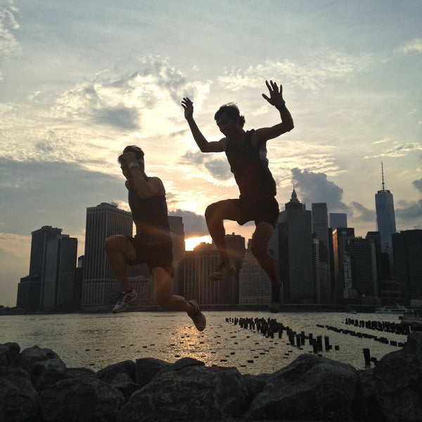 Running and playing in Brooklyn Bridge Park