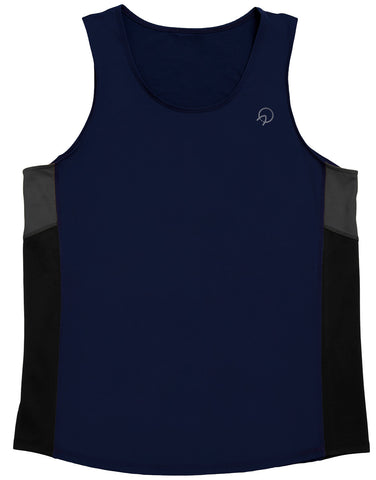 Men's Running Tank Top - Navy with Black and Grey