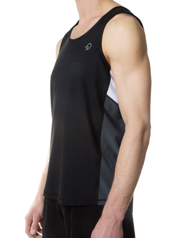 Men's Running Tank Top - Navy Black and Grey