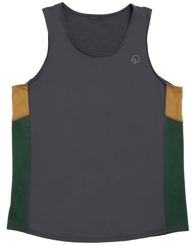 Cool Men's Running Singlet - Grey Green Gold