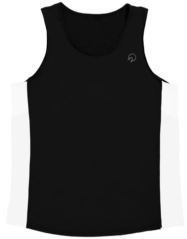 Men's Hip Running Singlet Top  - Black  White