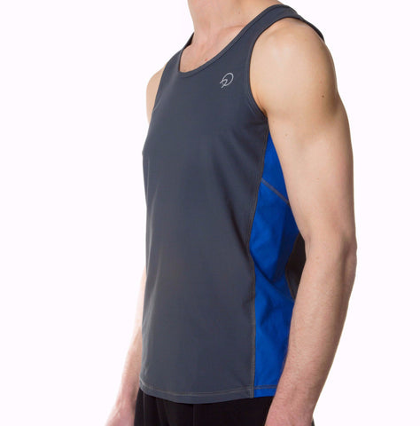 Cool Men's Running Tank Top - Retro Grey Blue