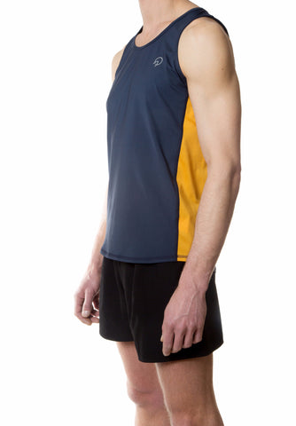 Men's Running Singlet - Navy Blue Gold Retro
