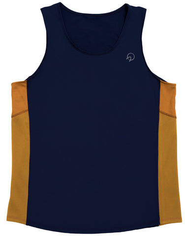 Men's Running Singlet - Navy Blue Gold Vintage