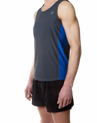 Cool Men's Running Singlet - Grey Royal Blue Retro
