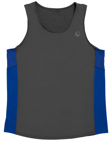 Men's Running Singlet - Hipster Grey Royal Blue