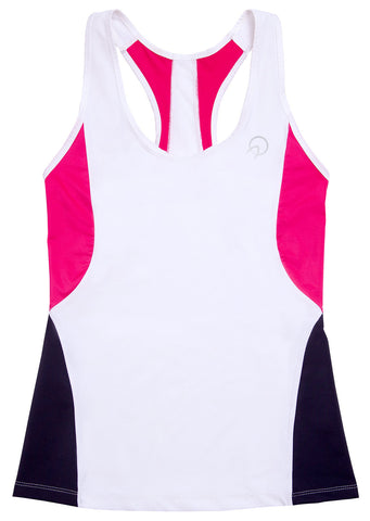 Women's Running Tank Top White Pink Black