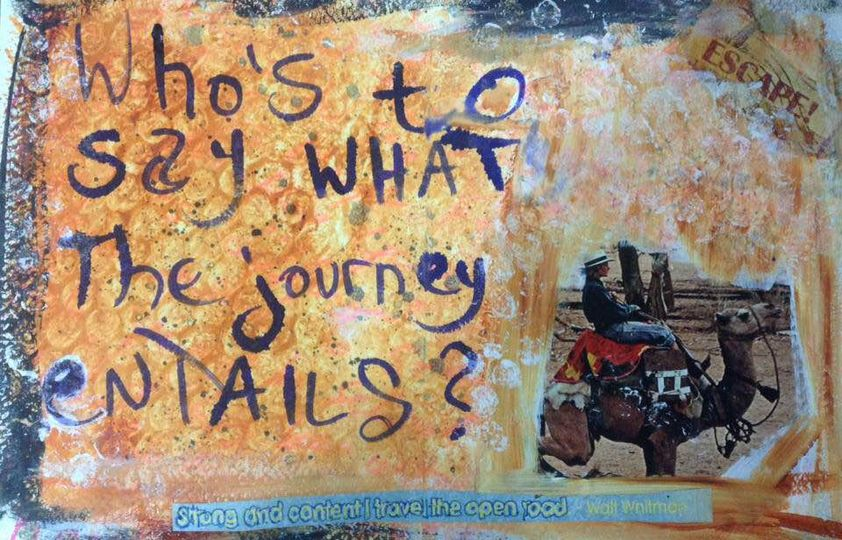 the boy on a journey art journal page
