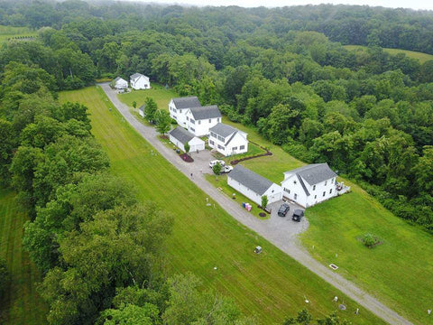 Aerial view of Myfield Lane in New Preston, Connecticut where Housatonic Habitat for Humanity is building 8 homes.