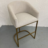 High-End Upholstered Barrel-Back Stool with Brass-Plated Legs