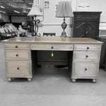 "High-End Retailer Zinc Metal-Wrapped Wood 68"" Desk Early 20th Century French Industrial Design"