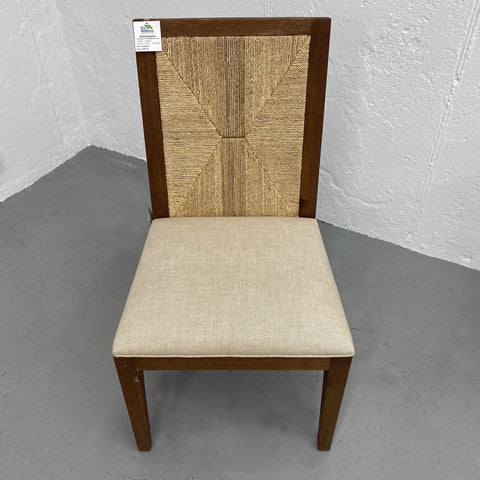 high end side chair oak frame upholstered seat handwoven seagrass panel