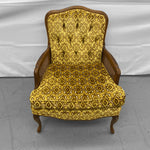 Mid-Century Vintage Yellow, Gold, Brown Patterned Velveteen Chair.