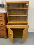 Vintage Heywood Wakefield collectible solid wood hutch made in the USA. Art Deco inspired mid-century modern design crafted from yellow birch wood.