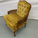 Mid-Century Vintage Yellow, Gold, Brown  Patterned Velveteen Upholstered Chair.