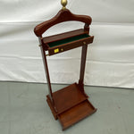 Wood Clothes Valet Stand with Brass Accents and Two Accessory Drawers.