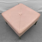 Vintage Mid-Century Pink Leather-Look Upholstered Square Ottoman.