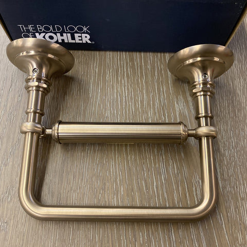 Kohler Wall Mount Pivoting Toilet Tissue Holder from Kohler's Artifacts® Collection in Vibrant® Brushed Bronze finish.