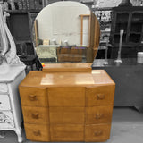 Vintage Art Deco Dresser with Oval Mirror, X-Shaped Knobs