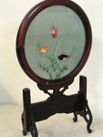 Japanese Embroidered Silk Screen with Stand