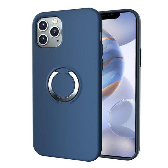 Ink blue shock absorbent phone case with built-in ring kickstand for the Apple iPhone 12 / iPhone 12 Pro
