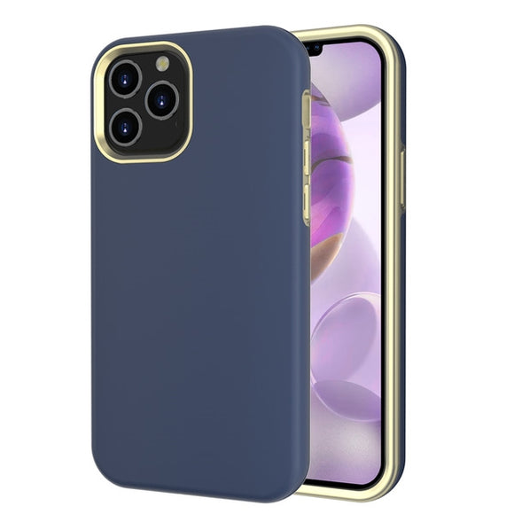 Slim blue and gold trim shock resistant case for the Apple iPhone 12 Pro Max