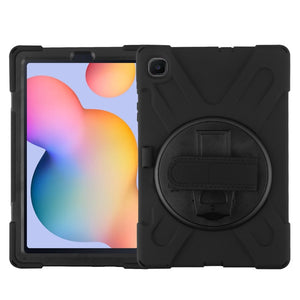 Black shock tablet case with a rotatable kickstand and wristband strap for the Samsung Galaxy Tab S6 Lite