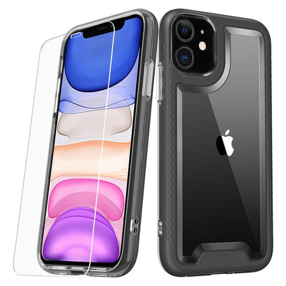 Jet black MyBat Pro Lux Series slim & sleek, with a texturized bumper & clear smooth back tough case with tempered glass for the Apple iPhone 11