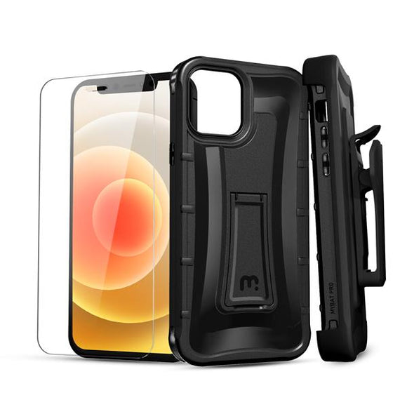 Warrior Series Case with Holster & Tempered Glass for Apple iPhone 12 mini