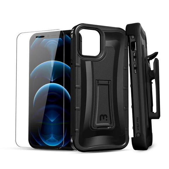 Tough rugged combo case that comes with tempered glass screen protector, built-in kickstand and a detachable holster clip for the Apple iPhone / iPhone 12 Pro