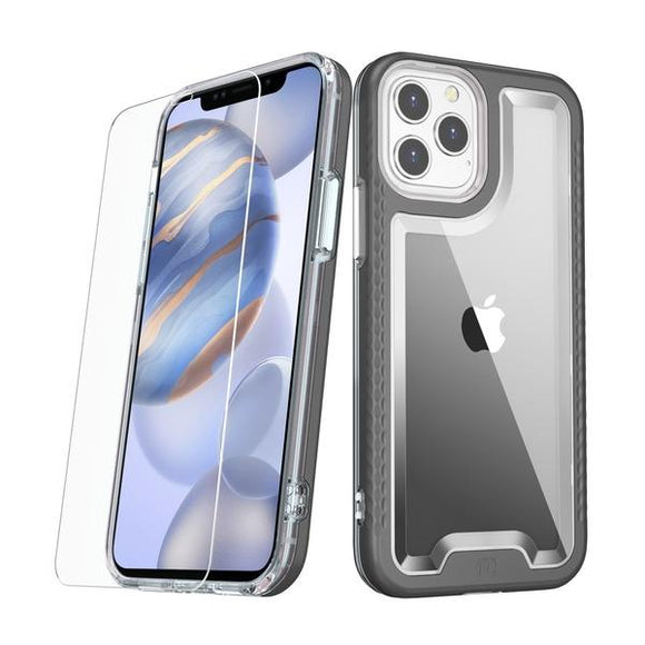 Black slim & sleek, with a texturized bumper & clear smooth back tough MyBat Pro Lux series case with tempered glass for the Apple iPhone 12 / iPhone 12 Pro