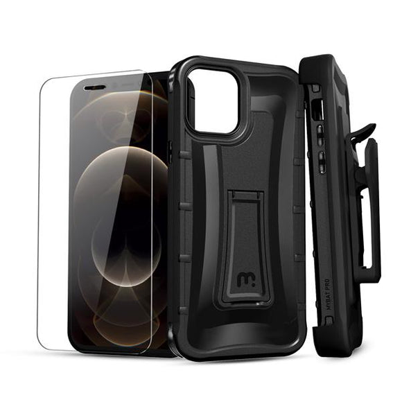 Warrior Series Case with Holster & Tempered Glass for Apple iPhone 12 Pro Max