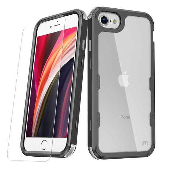 Black slim & sleek, with a texturized bumper & clear smooth back tough MyBat Pro Lux series case with tempered glass for the Apple iPhone SE 2020 & iPhone 8 / 7