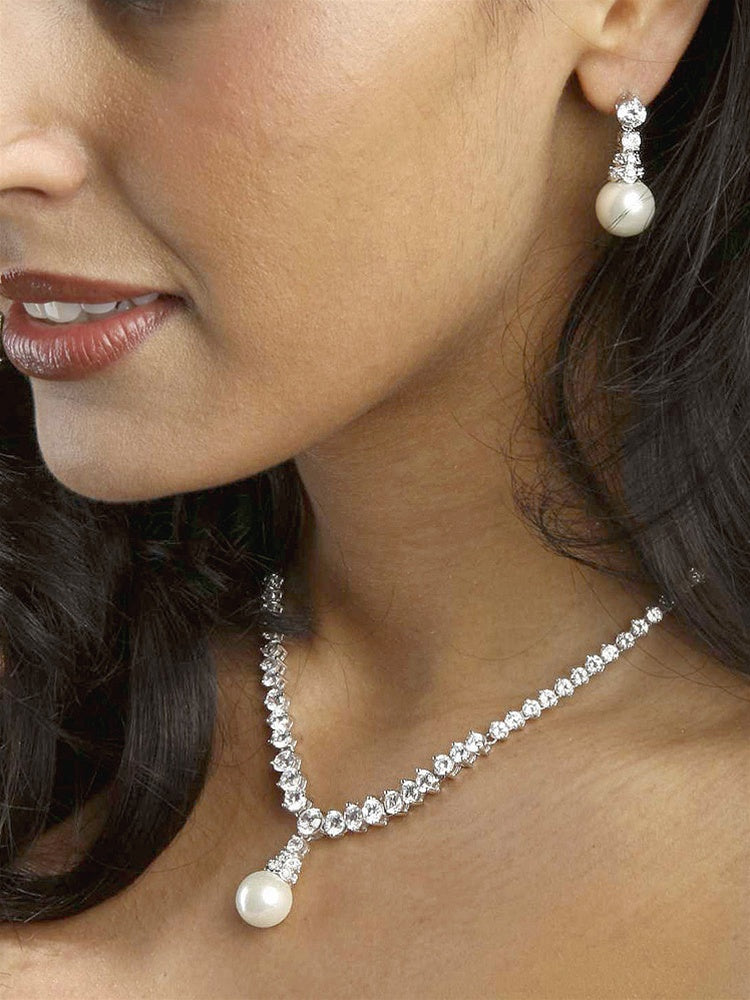 Bridal Necklace Set with Graduated CZ Rounds and Bold Pearl