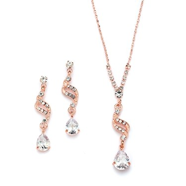 Dainty Necklace and Earrings Set with CZ Teardrops